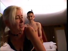 Tempting blonde Experienced teaching 19 years old man to fuck