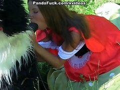 cutie stroking enormous dick in the woods toy bear