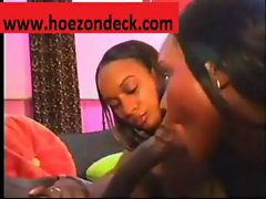 Two Beautiful Black Gals Share One Huge Cock