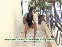 Paige superb brunette woman toying pussy with a vibrator on the stairs