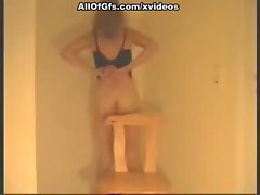Hot girl masturbates and fucks on the chair