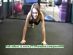 Denise angelic brunette woman having fun at the gym and public flashing tits