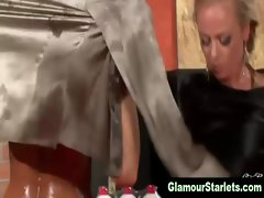 Classy glamour satin lesbians finger action