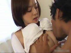 Cute asian schoolgirl slurping the cum