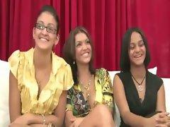 Porncasting with trio of CFNM ladies