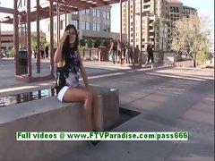 Alexa Loren hot busty brunette babe public flashing tits