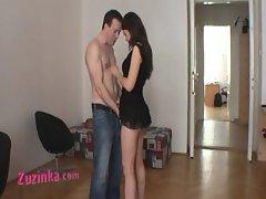 Amateur chick Zuzinka plays with a stranger