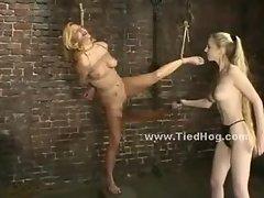 Blonde babe tortured by violent mistress