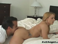 Nasty whore gets a good licking on her pink snatch from the rear