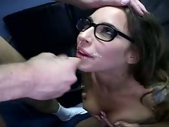 Bespecktacled Lindsay Meadows shows that even nerdy girls love facials