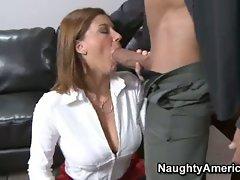 Steamy secretary Sara Stone takes her blow job skills seriously