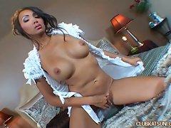 Hot Asian hottie Katsumi having a hot masturbation session in bed