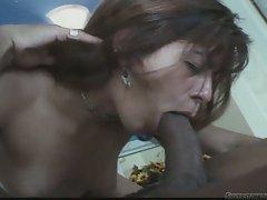 Slutty bitch swallows a huge, throbbing dick down her hot throat