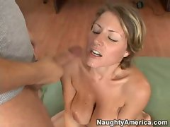 Horny Velicity Von enjoys a creampie after a good drilling in her tight twat
