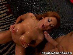 Sienna West a hot slut gets those round jugs glazed with hot cum and loves it