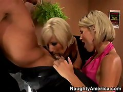 Super slut Puma and Kyla couldnt wait to taste a lucky man's hardon together