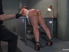 Super hot brunette babe gets her butt cheeks whipped while sucking dick