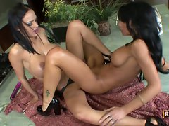 Angelina and Mya bring each other to orgasm's in this lesbian fuck fest.