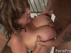 Kandi Cox loves getting her boobs cummed after a nice hard jail fuck