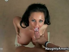 Busty Kerry Louise gets a huge load cummed on her face after fucking