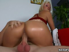 Jasmine Jolie rides her terrific ass on a huge throbbing cock