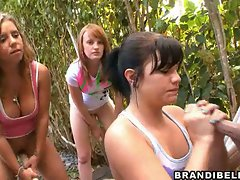 Super hot whore Brandi Belle gives a hot horny handjob outside