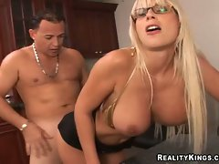 Filthy whore Puma Swede hot gash slammed from behind with fat long cock