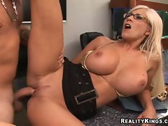 Getting her pussy pounded hard with large cock,  big tits Puma Swede