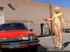Lily Luvs hot babe do car wash in green bikini