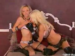 Lesbians Nikki and Puma can't resist pleasure wearing lingerie in bed.
