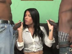 Kendra Secrets hot cougarl holding two black cocks