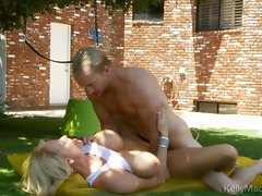 Kelly Madison getting sweet snatch hammered outside