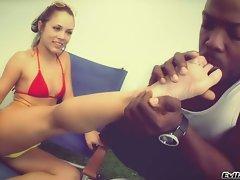 Kristina Rose let a black man suck her clean toes