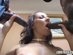 Maria Bellucci lusty babe sucking and play black cocks