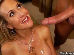 Brandi Love babe let man's cummings melt on boobs