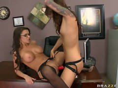 Riley Jensen fuck the hot babe with strap on