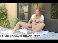 Alice _ Busty amateur blonde masturbating with a cucumber outdoors