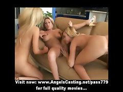 Three superb sexy blonde lesbian babes masturbating and pussy licked