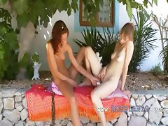 Two schoolgirls from Russia playing