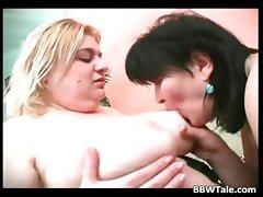 Fat horny sluts lick each other tits part2