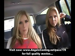 Three superb sexy blonde lesbians talking and undressing