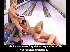 Three amateur amazing lesbian sluts kissing and sucking tits at bowling