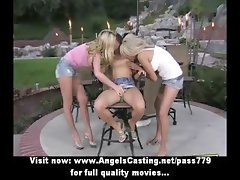 Three beautifull superb lesbian chicks undressing and kissing in the nature