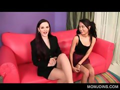 Sexy mom and daughter talked into fucking