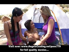 Lesbian chick and cute girlfriends kissing and licking and toying