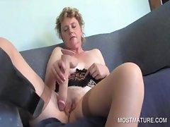 Mature amateur dildoing pussy