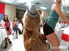 Dirty sluts taking stripper's shaft at orgy