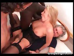 Incredible group sex action with blonde part2