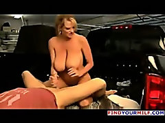 Hot big tits mature wife banged in pickup truck