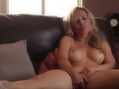 Filthy blonde babe Kayden Cross teasing and pussy fingering